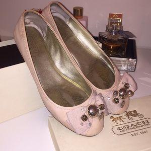 COACH Blush Pink Ballet Bow Flats | 7.5
